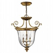 Cambridge 3 Light Pendant in Solid Burnished Brass with Clear Optic Glass - HINKLEY HK/CAMBRIDGE/P/S